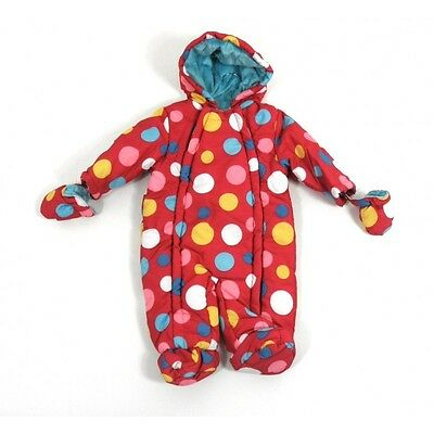 John Lewis Snowsuit Red Spotted Baby Girls 3-6 Months (16lbs 3oz) New