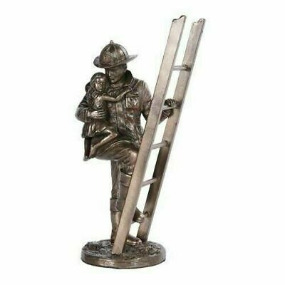 Fireman Fire Fighter Hero and Child Descending From Ladder Figurine Statue Decor