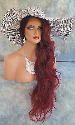 Long Wavy Hand Tied Lace Front Wig  *t1B.burgundy Hot Seductive Usa Seller 306