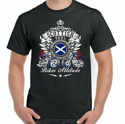 Scottish Soul Biker Attitude Mens Motorbike T-Shirt Motorcycle Bike Cafe Racer