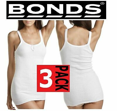 WOMENS 3 PACK x BONDS JUDY RIB TOP LADIES WHITE STRETCH SINGLET PLUS SIZE 12-20