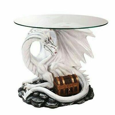 Wise Dragon Treasure Chest Protector Side Table with Glass Fantasy Home Decor