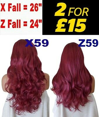 BURGUNDY RED Long Curly Layered Half Wig Hair Piece Ladies 3/4 Wig Fall Clip ins