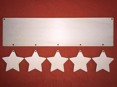 LONG PLAQUE with 5 stars (each 6cm) PLAIN UNPAINTED BLANK WOODEN HANGING CRAFT