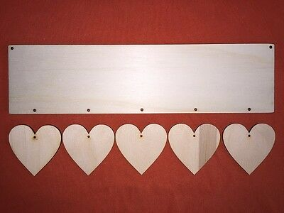 LONG PLAQUE with 5 hearts (each 6cm) PLAIN UNPAINTED BLANK WOODEN HANGING CRAFT