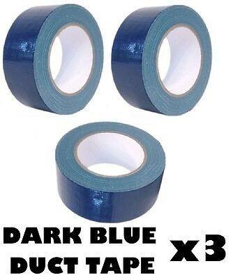 3x DARK BLUE AUTOMOTIVE Grade DUCT Tape Gaffa Cloth 48mm x 50m Waterproof Strong