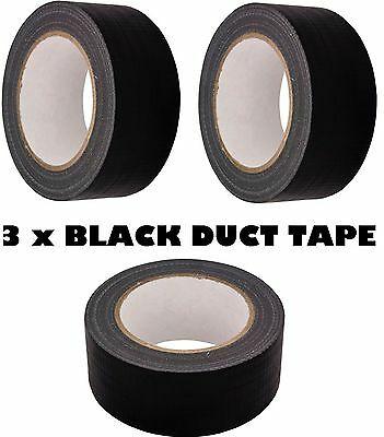 3 x BLACK AUTOMOTIVE Grade DUCT Tape Gaffa Cloth 48mm x 50m Waterproof Strong