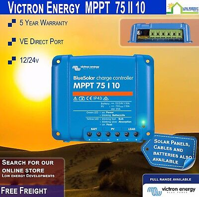 Victron Energy BlueSolar 12-24V 75/10 MPPT Solar Charge Controller