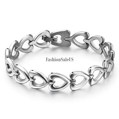 Women's Promise of Love Polished Stainless Steel Heart-link Chain Bracelet Gift