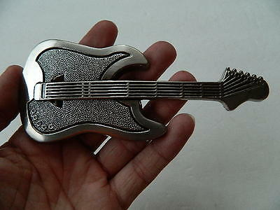 "Electric Guitar Belt Buckle, Zinc Alloy, Silver Color, 5.5"", 3D Sculpted Design"
