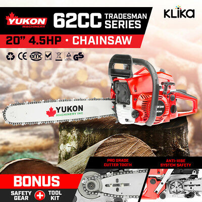 62cc TRADESMAN PETROL CHAINSAW BAR 2 STROKE TREE LOG WOOD CHAIN SAW 20in E-START