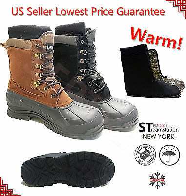 LM Men's Black Brown Winter Snow Boots Shoes Work Boots Leather Waterproof 2004