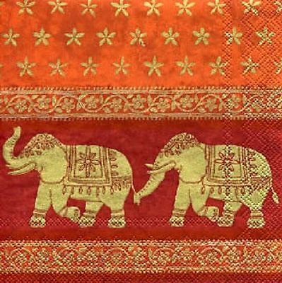 4 x Paper Napkins - Indian Elephants - Ideal for Decoupage / Decopatch