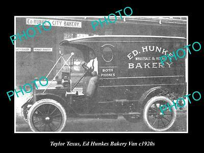OLD LARGE HISTORIC PHOTO OF TAYLOR TEXAS, THE ED HUNKES BAKERY VAN c1920s