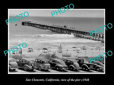 OLD LARGE HISTORIC PHOTO OF SAN CLEMENTE CALIFORNIA, VIEW OF THE PIER c1948