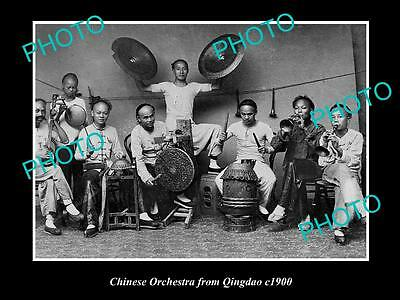 OLD LARGE HISTORICAL PHOTO OF CHINA, CHINESE ORCHESTRA FROM QINGDAO c1900