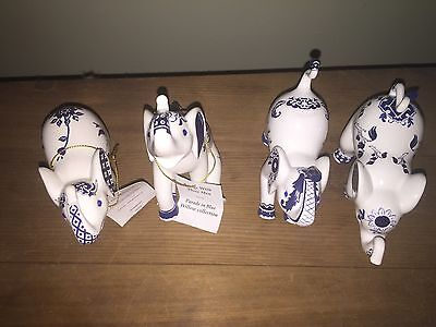 Set Of 4 The Hamiliton Collection Elephants. 01-04. Blue And White