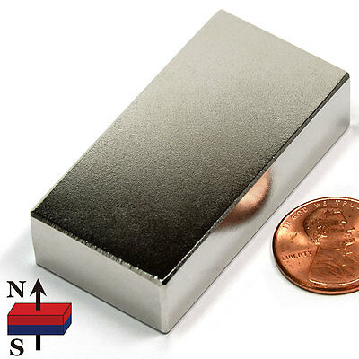 "CMS Magnetics® SUPER STRONG N52 Neodymium Block Magnet 2""x1""x1/2"" BEST SELLER!"