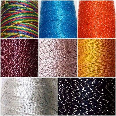 Viscose Rayon Thread Yarn with LUREX - Embroidery Crochet Knitting Lace Jewelry