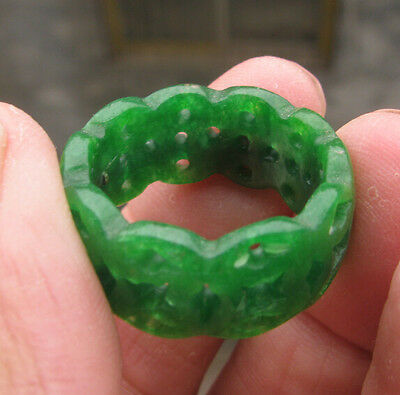new natural green onyx jade  hand carved  ring size10