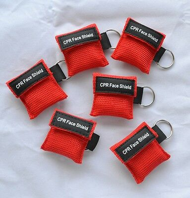 10 pcs CPR MASK KEYCHAIN WITH CPR FACE SHIELD AED Red Frist Aid