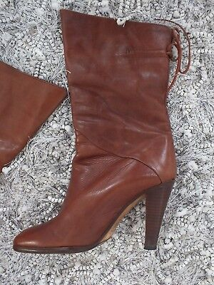 VINTAGE BOOTS BOHO BROWN LEATHER LACE BOOTS HIGH HEELS Shoes 37.5 MADE IN ITALY