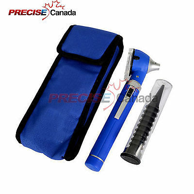 PRECISE CANADA Fiber Optic Mini Otoscope Blue Color (Diagnostic Set)