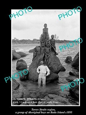 OLD LARGE HISTORIC PHOTO OF TORRES STRAITS ABORIGINAL BOYS ON BADU ISLAND c1895