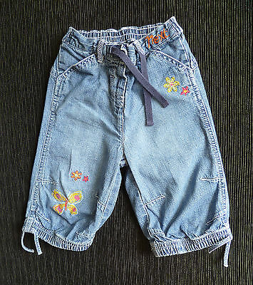 Baby clothes GIRL 12-18m NEXT embroidered denim blue jeans 2nd item post-free!