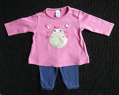 Baby clothes GIRL 0-3m outfit pink NEXT giraffe top long sleeve/leggings F&F