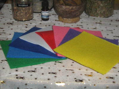 8 Felt squares for charms - spells - sachets.