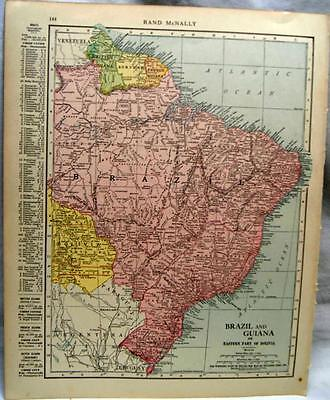 Columbia Venezuela Brazil  Atlas Map Page 1916 Wwii Vintage Rand Mcnally