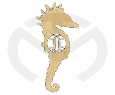 Unfinished Wood Seahorse Monogram Door Hanger Laser Cutout w/ Your Initial