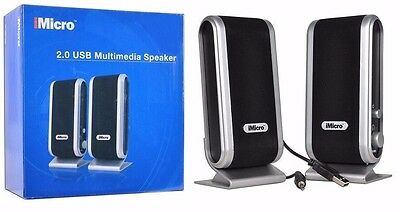 iMicro SP-IMD168B 2-Piece 2-Channel USB Powered Speaker w/Headphone Jack--NEW