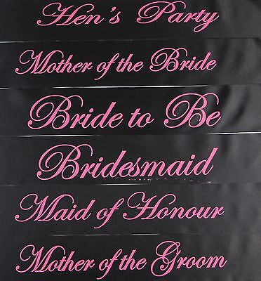 Hens Night Bridal Sash Sashes Bride Bridesmaid Maid Of Honour - Black + Hot Pink
