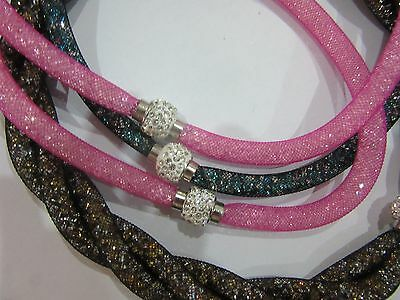 12 Mesh Stardust Filled Crystal Necklace Rhinestone Ball Magnetic Clasp Assorted
