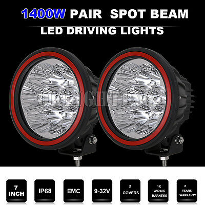 7inch1400W CREE Round Spotlights LED Driving Offroad 4X4 Black work lamp HID bar