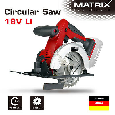 NEW MATRIX 18v Cordless Circular Saw(saw only, no battery)