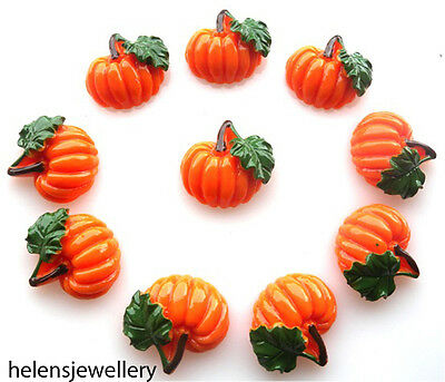 10 Pumpkin Flatback Kitch Cabochons Kawaii Decoden - Fast Shipping