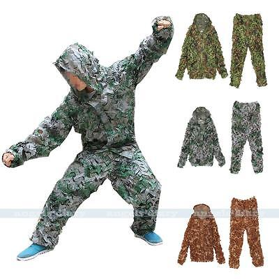Camo 3D leaf GHILLIE Training SUIT Jungle Sniper Military Camouflage Clothing