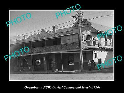 OLD LARGE HISTORIC PHOTO OF QUEANBEYAN NSW, VIEW OF THE COMMERCIAL HOTEL c1920s