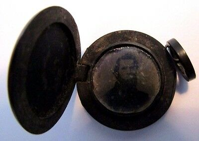Antique Victorian Gutta Percha Locket With Old Photograph
