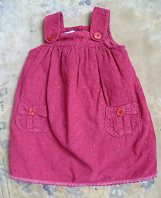 Baby clothes GIRL 18-24m Monsoon dark red cord cotton dress 2nd item post-free!