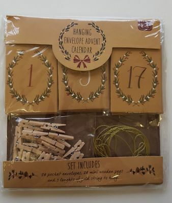 Advent Calendar Envelope Set - Hanging Mini Pegs Gold Twine Christmas 24 Pockets