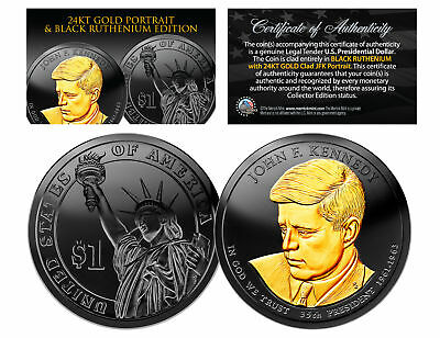 Black RUTHENIUM John Kennedy 2015 Presidential $1 Dollar Coin 24K Enigma P Mint