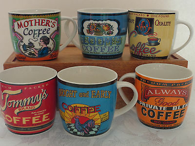 Set of 6 Vintage Coffee Advertising Mugs NEW IN BOX