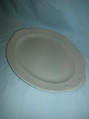 """Vintage LuRay Pastels oval ceramic platter pink T.S. & T. 11.5"""" x 8"""" 1940s"""