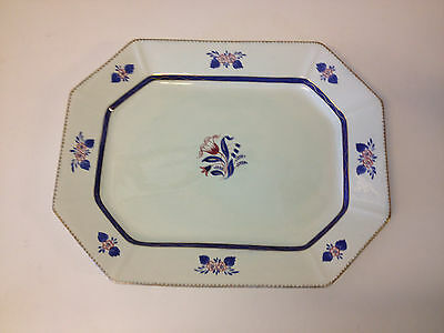Antique English William Adams Hand Painted Calyx Ware Platter / Tray Floral Dec.