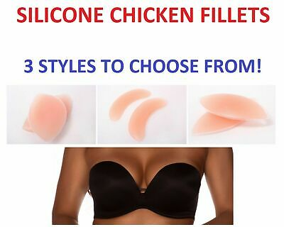 Silicone Bra Inserts Bikini Cleavage Chicken Fillets Womens Push Up - 3 Styles