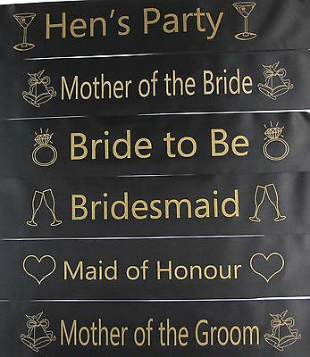 Hens Night Bridal Sash Sashes Bride Bridesmaid Maid Of Honour * Black & Gold *